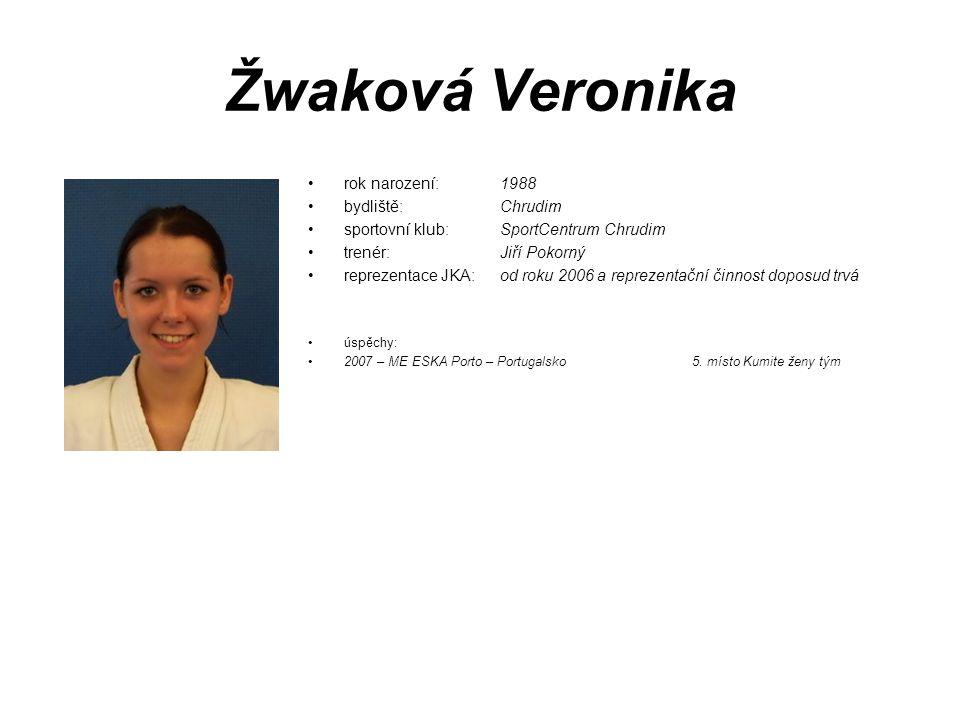 Žwaková Veronika rok narození: 1988 bydliště: Chrudim sportovní klub: SportCentrum Chrudim trenér: Jiří Pokorný reprezentace JKA:od roku 2006 a reprez