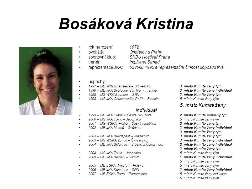 Bosáková Kristina rok narození: 1972 bydliště: Ondřejov u Prahy sportovní klub: SKBU Hostivař Praha trenér: Ing.Karel Strnad reprezentace JKA: od roku