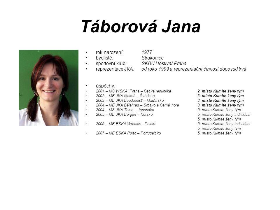Táborová Jana rok narození: 1977 bydliště: Strakonice sportovní klub: SKBU Hostivař Praha reprezentace JKA: od roku 1999 a reprezentační činnost dopos