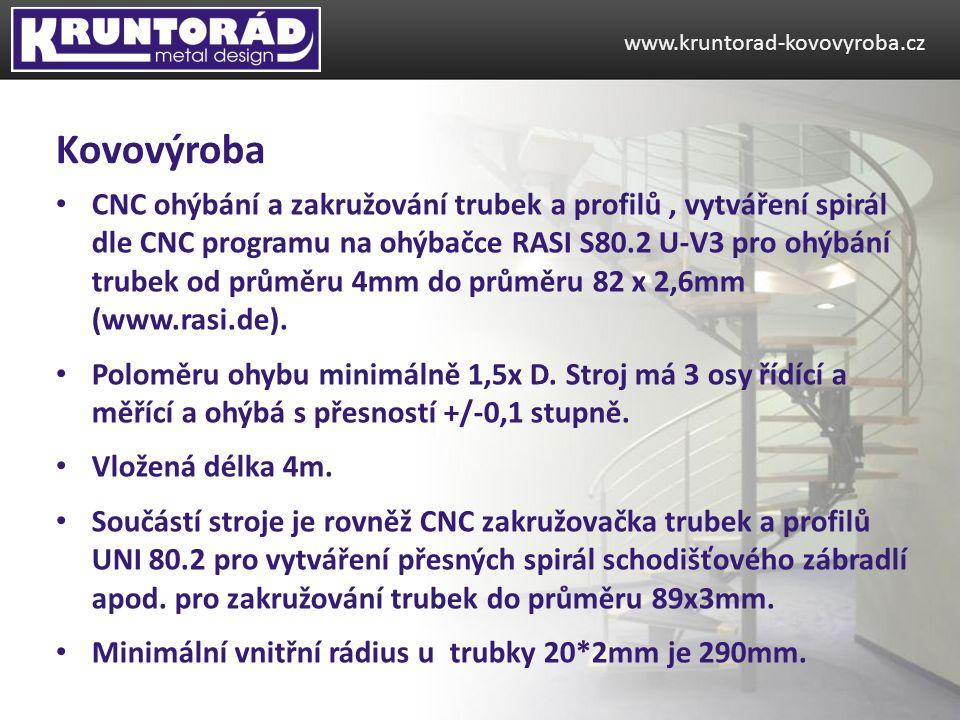 CNC ohýbání a zakružování trubek a profilů, vytváření spirál dle CNC programu na ohýbačce RASI S80.2 U-V3 pro ohýbání trubek od průměru 4mm do průměru