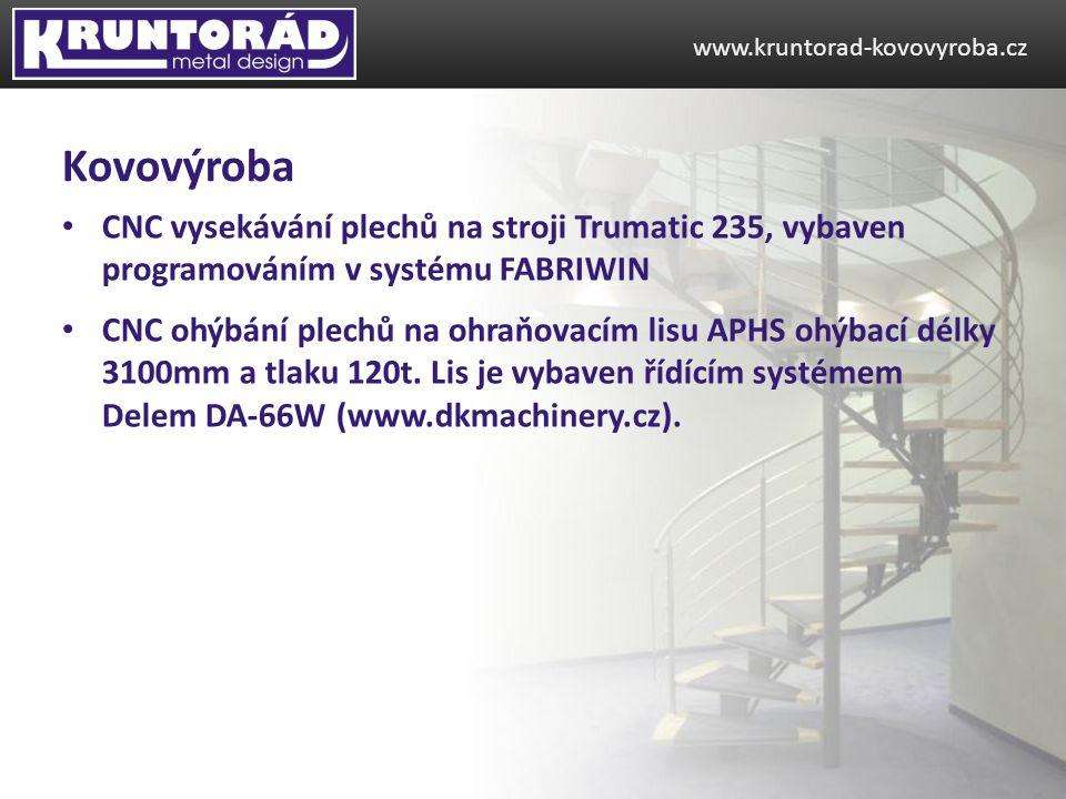 CNC vysekávání plechů na stroji Trumatic 235, vybaven programováním v systému FABRIWIN CNC ohýbání plechů na ohraňovacím lisu APHS ohýbací délky 3100m
