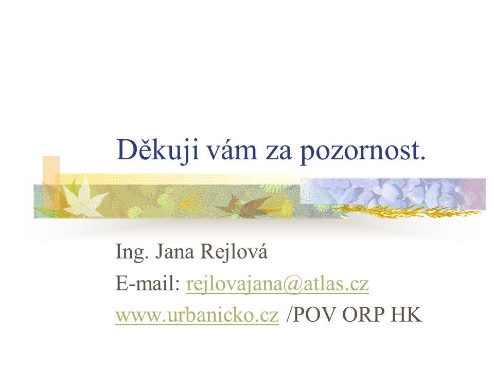 Děkuji vám za pozornost. Ing. Jana Rejlová E-mail: rejlovajana@atlas.czrejlovajana@atlas.cz www.urbanicko.czwww.urbanicko.cz /POV ORP HK