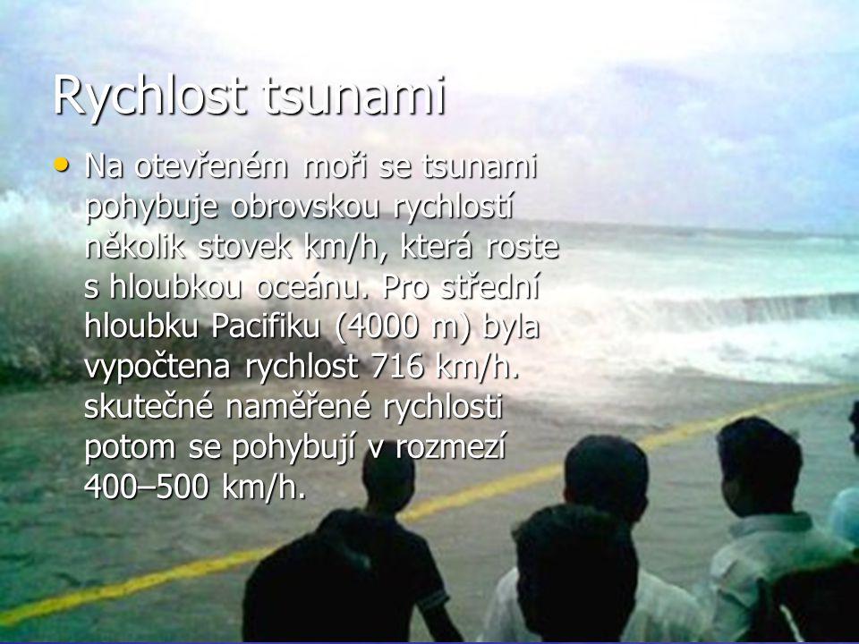 Vzorec+vývoj tsunami Vzorec závislosti mezi výškou vodního sloupce a rychlostí dlouhé vlny: Vzorec závislosti mezi výškou vodního sloupce a rychlostí dlouhé vlny: v = √(g.