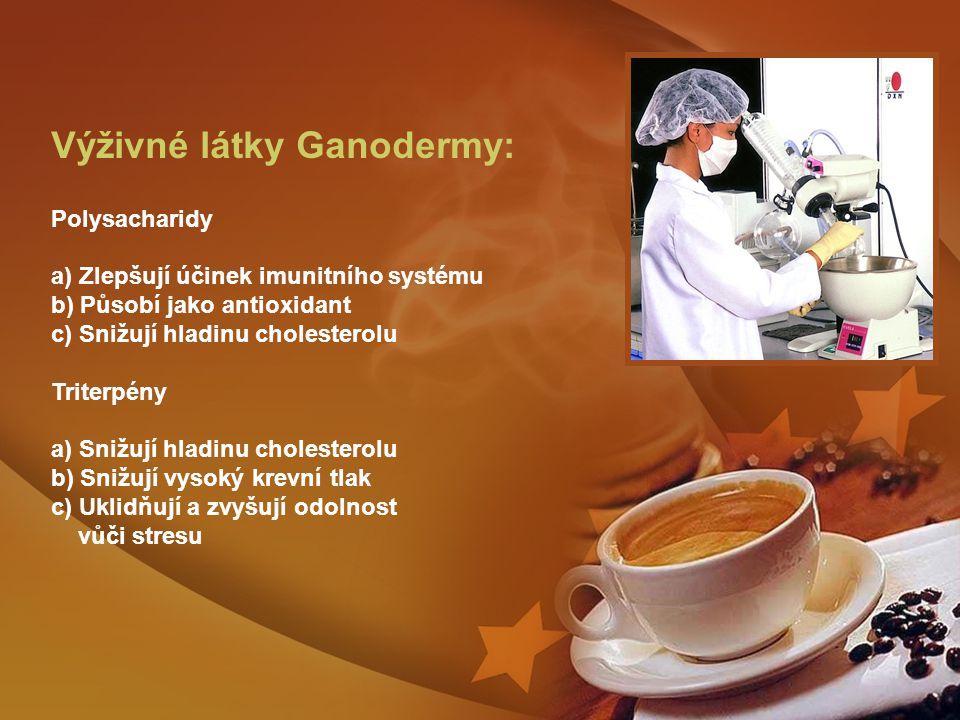 Výživné látky Ganodermy: Polysacharidy a) Zlepšují účinek imunitního systému b) Působí jako antioxidant c) Snižují hladinu cholesterolu Triterpény a) Snižují hladinu cholesterolu b) Snižují vysoký krevní tlak c) Uklidňují a zvyšují odolnost vůči stresu