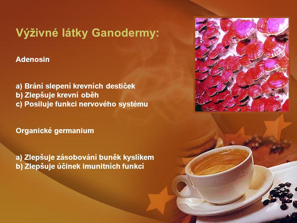 Výživné látky Ganodermy: Adenosin a) Brání slepení krevních destiček b) Zlepšuje krevní oběh c) Posiluje funkci nervového systému Organické germanium a) Zlepšuje zásobování buněk kyslíkem b) Zlepšuje účinek imunitních funkcí
