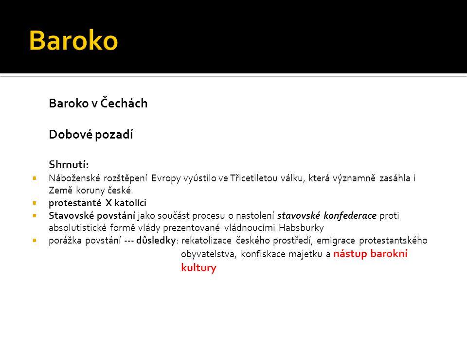 České baroko Terminologie:  protestanté – příslušníci reformovaných církví, odštěpených od církve katolické, např.
