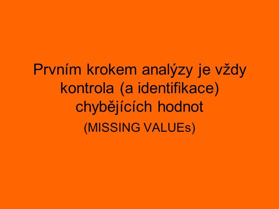 Prvním krokem analýzy je vždy kontrola (a identifikace) chybějících hodnot (MISSING VALUEs)