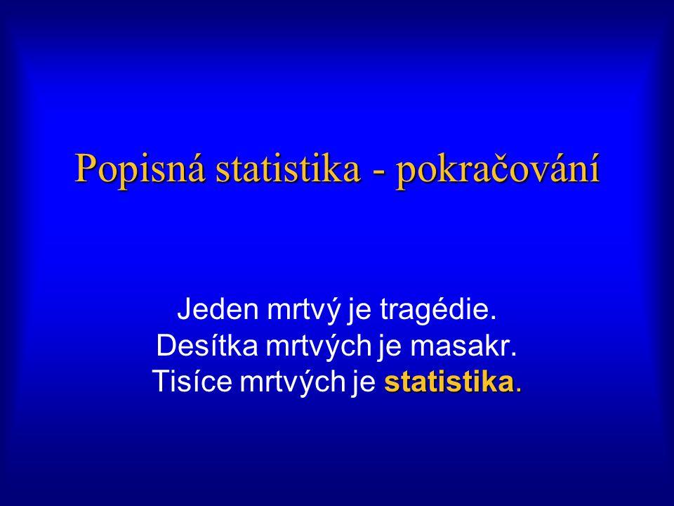 Popisná statistika - pokračování statistika.Jeden mrtvý je tragédie.