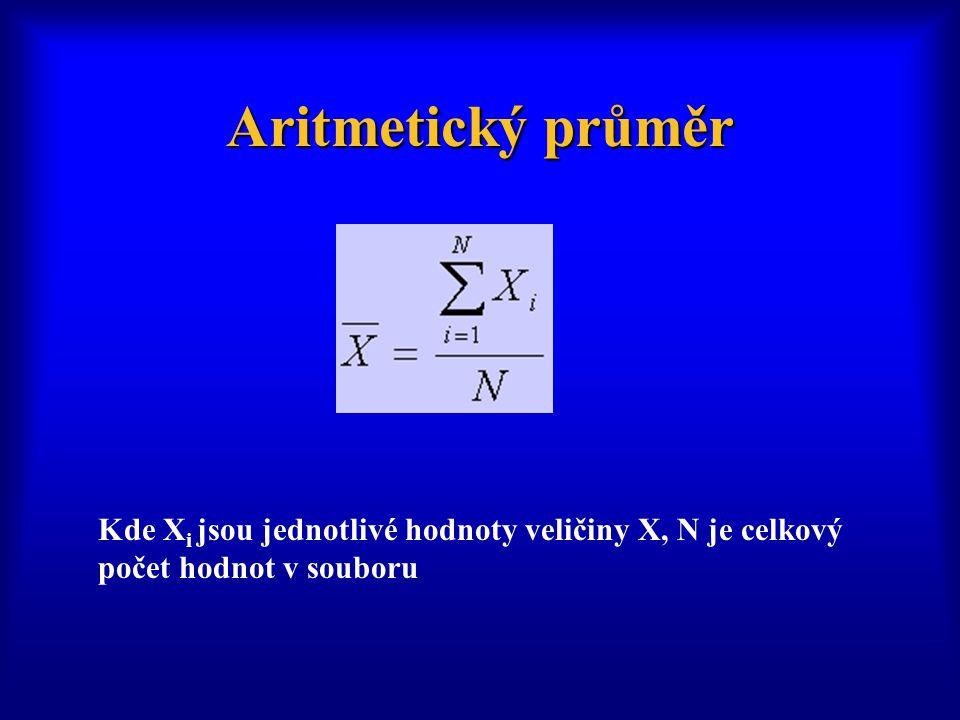 Aritmetický průměr Kde X i jsou jednotlivé hodnoty veličiny X, N je celkový počet hodnot v souboru