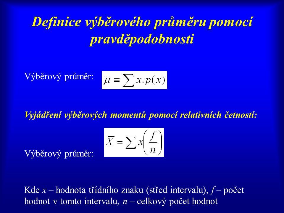 Definice výběrového průměru pomocí pravděpodobnosti Výběrový průměr: Vyjádření výběrových momentů pomocí relativních četností: Výběrový průměr: Kde x – hodnota třídního znaku (střed intervalu), f – počet hodnot v tomto intervalu, n – celkový počet hodnot