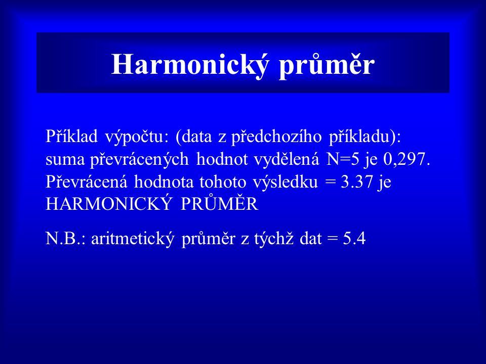 Harmonický průměr Příklad výpočtu: (data z předchozího příkladu): suma převrácených hodnot vydělená N=5 je 0,297.