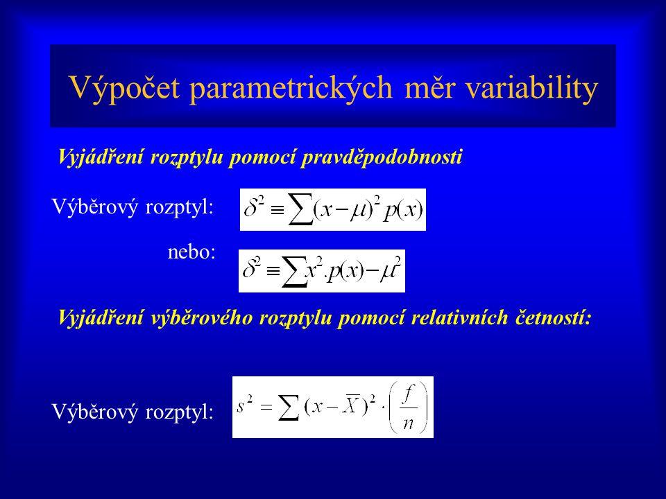 Výpočet parametrických měr variability Výběrový rozptyl: nebo: Vyjádření výběrového rozptylu pomocí relativních četností: Vyjádření rozptylu pomocí pravděpodobnosti Výběrový rozptyl: