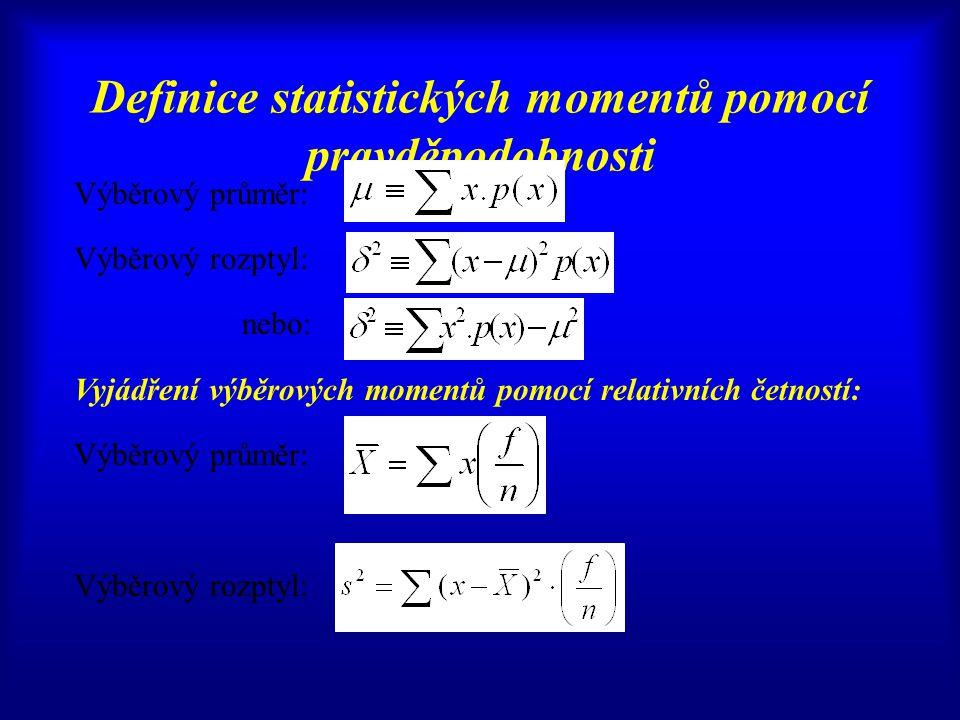 Definice statistických momentů pomocí pravděpodobnosti Výběrový průměr: Výběrový rozptyl: nebo: Vyjádření výběrových momentů pomocí relativních četností: Výběrový průměr: Výběrový rozptyl: