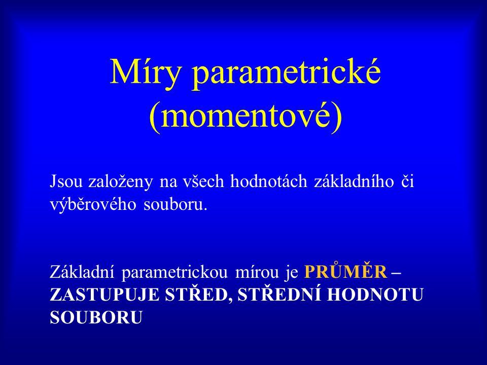 Míry parametrické (momentové) Jsou založeny na všech hodnotách základního či výběrového souboru.