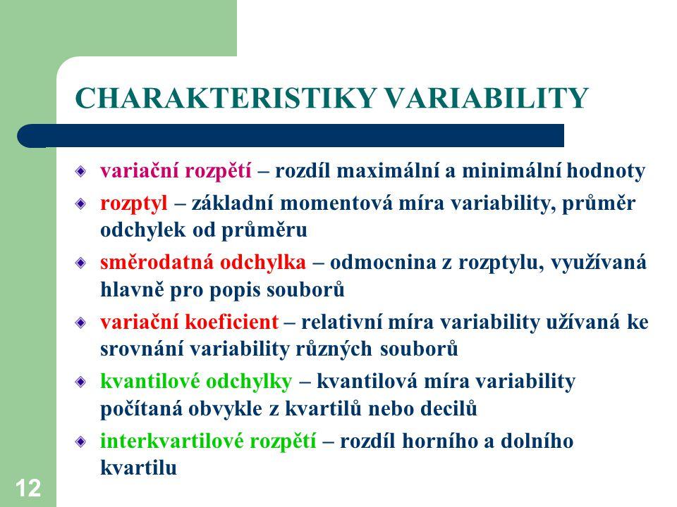 12 CHARAKTERISTIKY VARIABILITY variační rozpětí – rozdíl maximální a minimální hodnoty rozptyl – základní momentová míra variability, průměr odchylek