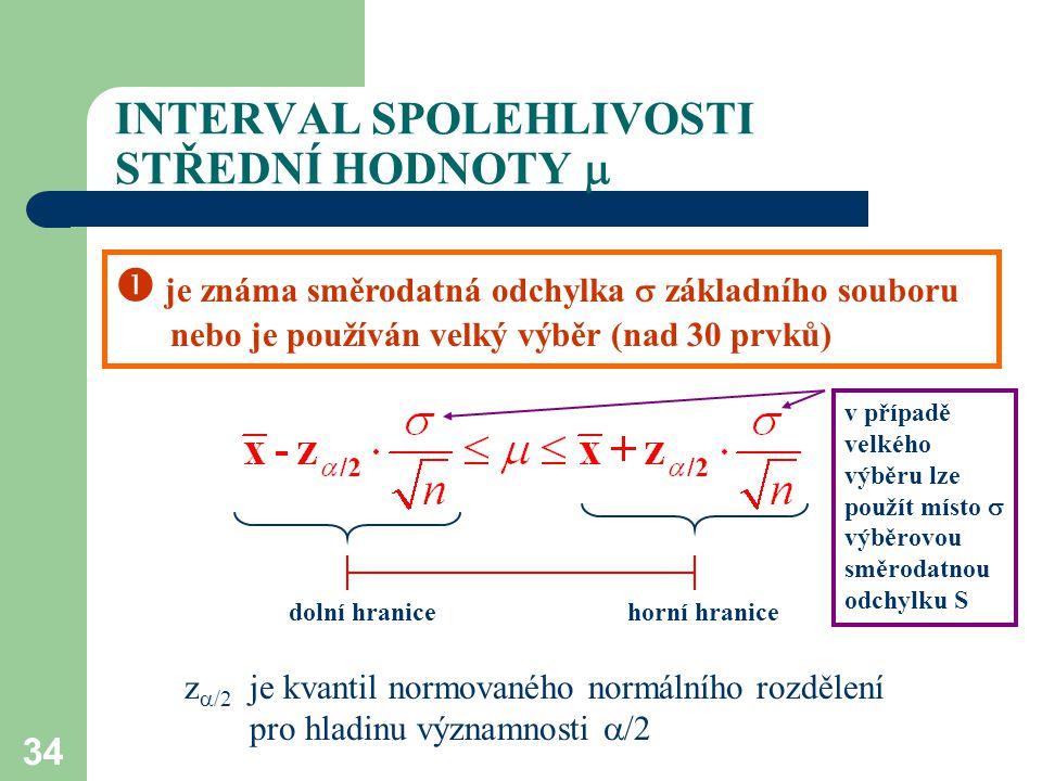 34 INTERVAL SPOLEHLIVOSTI STŘEDNÍ HODNOTY   je známa směrodatná odchylka  základního souboru nebo je používán velký výběr (nad 30 prvků) z  /2 je