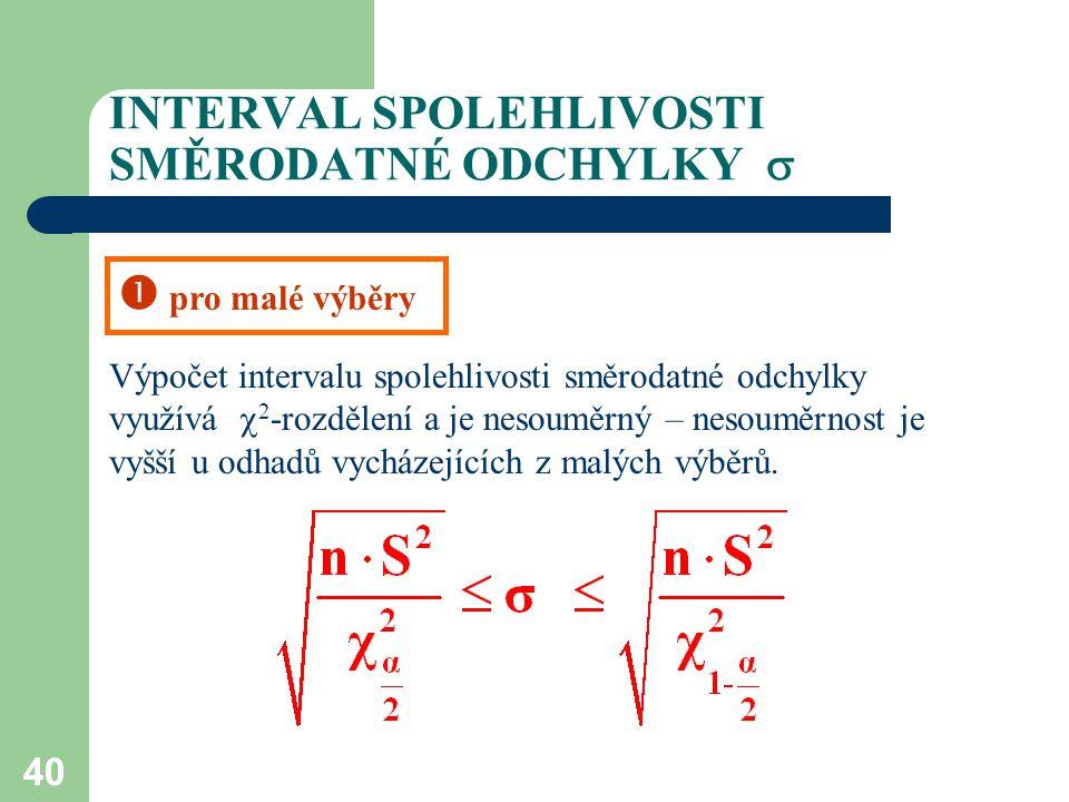 40 INTERVAL SPOLEHLIVOSTI SMĚRODATNÉ ODCHYLKY  Výpočet intervalu spolehlivosti směrodatné odchylky využívá  2 -rozdělení a je nesouměrný – nesouměr
