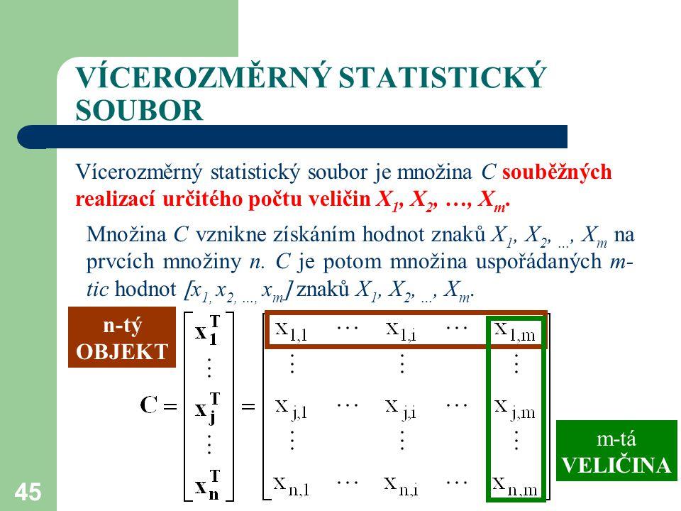 45 VÍCEROZMĚRNÝ STATISTICKÝ SOUBOR Vícerozměrný statistický soubor je množina C souběžných realizací určitého počtu veličin X 1, X 2, …, X m. Množina