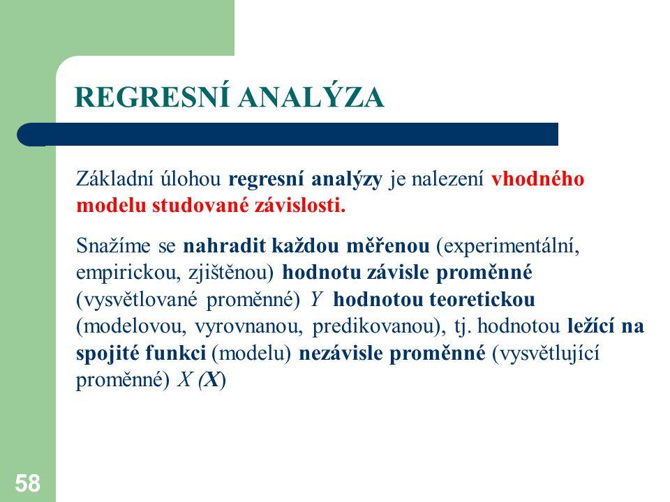 58 REGRESNÍ ANALÝZA Základní úlohou regresní analýzy je nalezení vhodného modelu studované závislosti. Snažíme se nahradit každou měřenou (experimentá