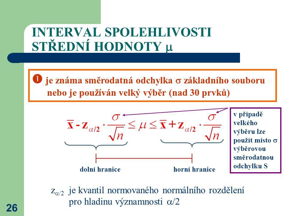 26 INTERVAL SPOLEHLIVOSTI STŘEDNÍ HODNOTY   je známa směrodatná odchylka  základního souboru nebo je používán velký výběr (nad 30 prvků) z  /2 je