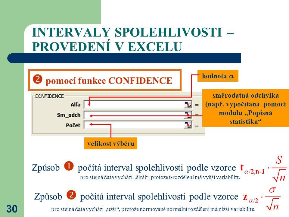 """30 INTERVALY SPOLEHLIVOSTI – PROVEDENÍ V EXCELU  pomocí funkce CONFIDENCE hodnota  směrodatná odchylka (např. vypočítaná pomocí modulu """"Popisná stat"""