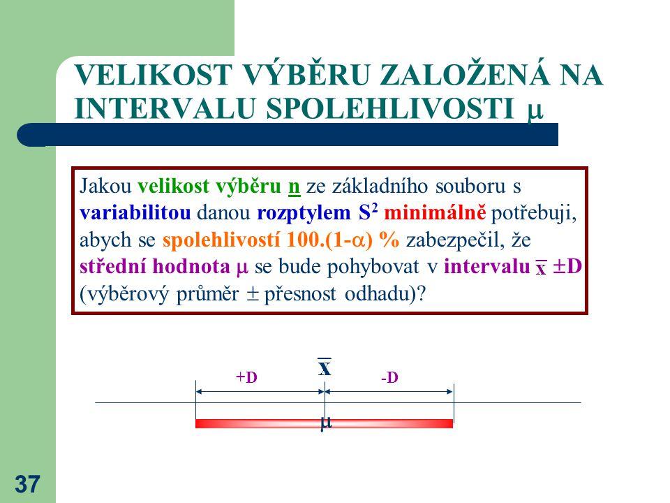 37 VELIKOST VÝBĚRU ZALOŽENÁ NA INTERVALU SPOLEHLIVOSTI  Jakou velikost výběru n ze základního souboru s variabilitou danou rozptylem S 2 minimálně po