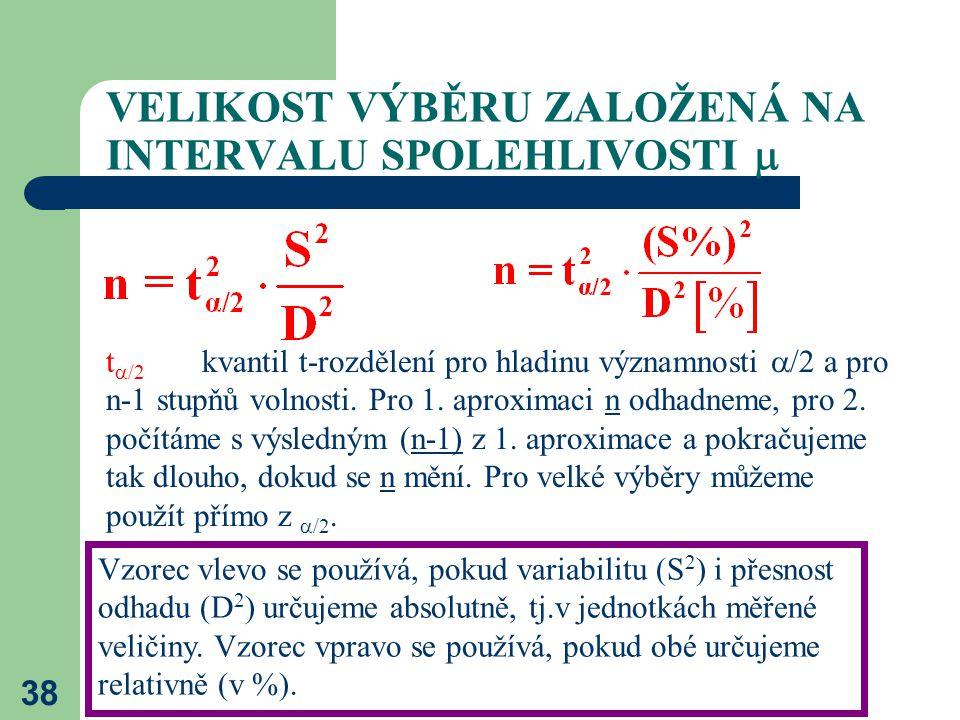 38 VELIKOST VÝBĚRU ZALOŽENÁ NA INTERVALU SPOLEHLIVOSTI  Vzorec vlevo se používá, pokud variabilitu (S 2 ) i přesnost odhadu (D 2 ) určujeme absolutně