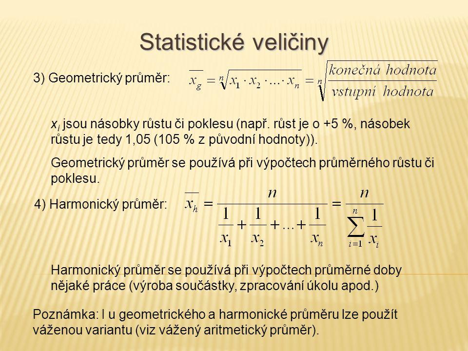 3) Geometrický průměr: Statistické veličiny Harmonický průměr se používá při výpočtech průměrné doby nějaké práce (výroba součástky, zpracování úkolu