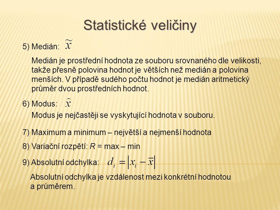 5) Medián: Statistické veličiny Medián je prostřední hodnota ze souboru srovnaného dle velikosti, takže přesně polovina hodnot je větších než medián a