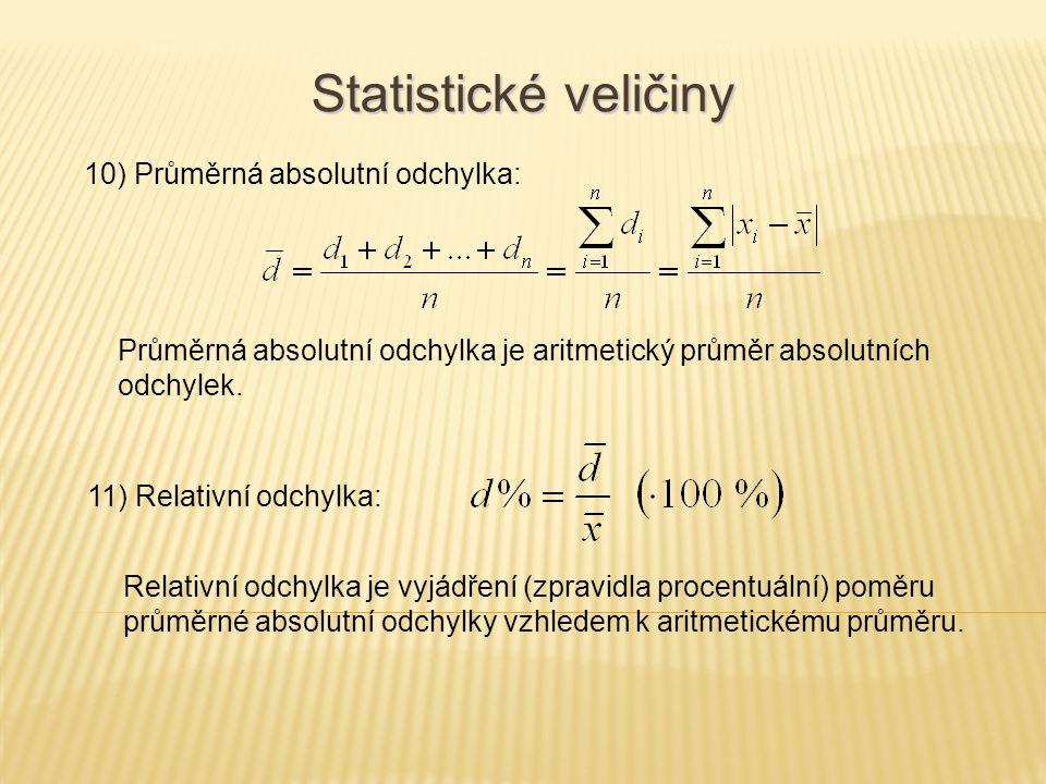 10) Průměrná absolutní odchylka: Statistické veličiny Průměrná absolutní odchylka je aritmetický průměr absolutních odchylek. 11) Relativní odchylka: