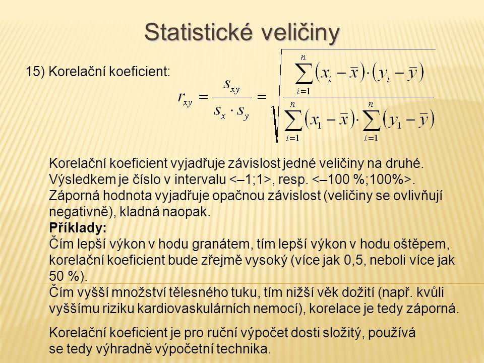 15) Korelační koeficient: Statistické veličiny Korelační koeficient vyjadřuje závislost jedné veličiny na druhé. Výsledkem je číslo v intervalu, resp.