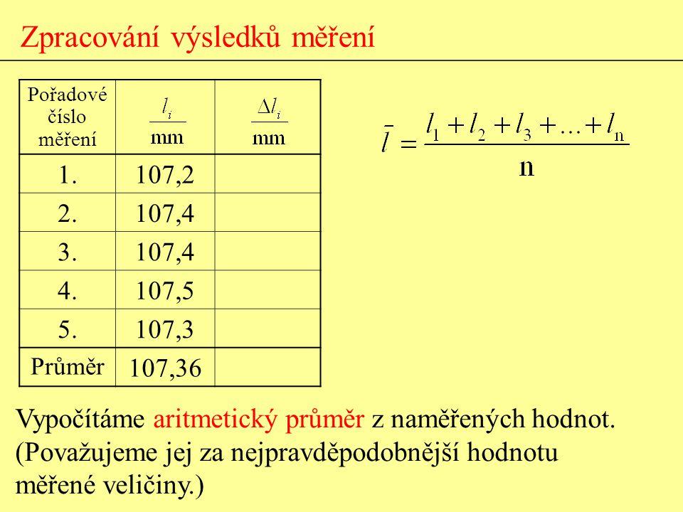Vypočítáme aritmetický průměr z naměřených hodnot. (Považujeme jej za nejpravděpodobnější hodnotu měřené veličiny.) Zpracování výsledků měření Pořadov