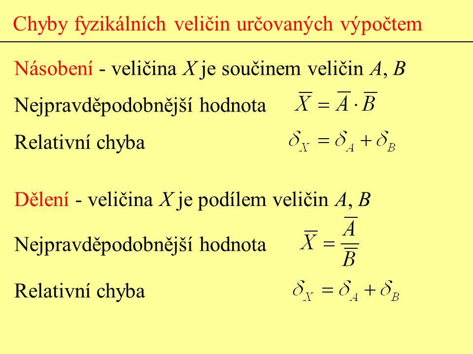 Chyby fyzikálních veličin určovaných výpočtem Násobení - veličina X je součinem veličin A, B Dělení - veličina X je podílem veličin A, B Nejpravděpodo