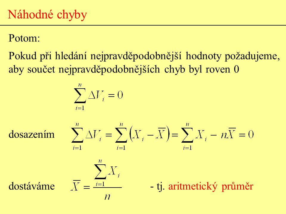 Náhodné chyby Potom: dosazením Pokud při hledání nejpravděpodobnější hodnoty požadujeme, aby součet nejpravděpodobnějších chyb byl roven 0 dostáváme-