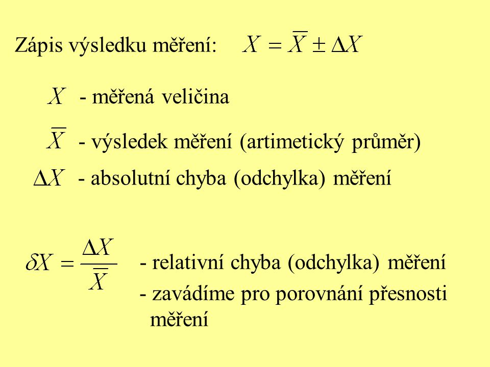Zápis výsledku měření: - měřená veličina - zavádíme pro porovnání přesnosti měření - výsledek měření (artimetický průměr) - absolutní chyba (odchylka)