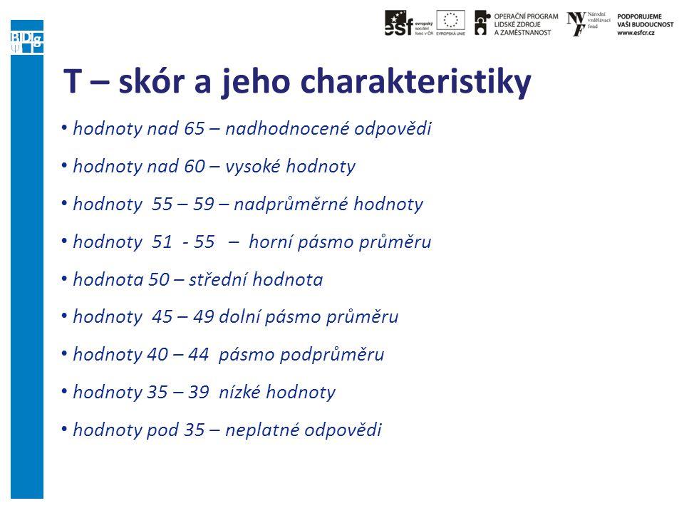 T – skór a jeho charakteristiky hodnoty nad 65 – nadhodnocené odpovědi hodnoty nad 60 – vysoké hodnoty hodnoty 55 – 59 – nadprůměrné hodnoty hodnoty 5