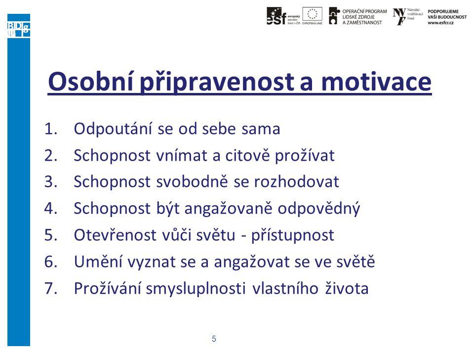 5 Osobní připravenost a motivace 1.Odpoutání se od sebe sama 2.Schopnost vnímat a citově prožívat 3.Schopnost svobodně se rozhodovat 4.Schopnost být a