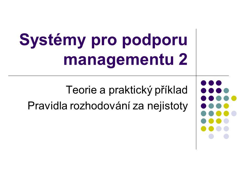 Systémy pro podporu managementu 2 Teorie a praktický příklad Pravidla rozhodování za nejistoty