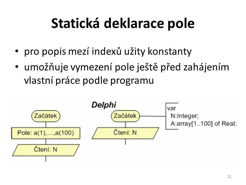Statická deklarace pole pro popis mezí indexů užity konstanty umožňuje vymezení pole ještě před zahájením vlastní práce podle programu 32