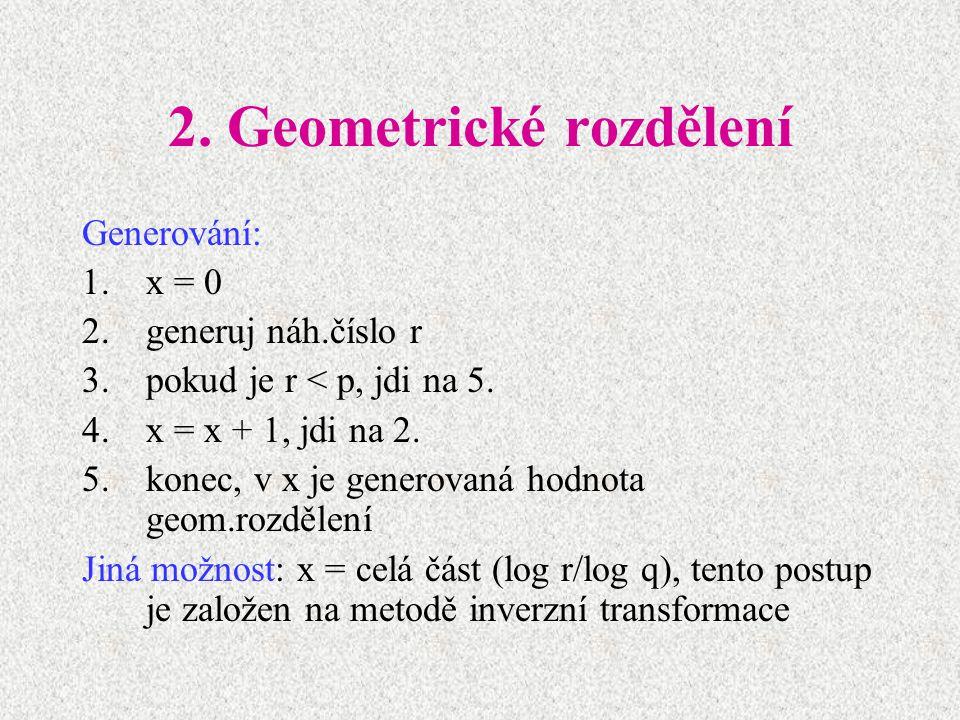 2. Geometrické rozdělení Generování: 1.x = 0 2.generuj náh.číslo r 3.pokud je r < p, jdi na 5. 4.x = x + 1, jdi na 2. 5.konec, v x je generovaná hodno