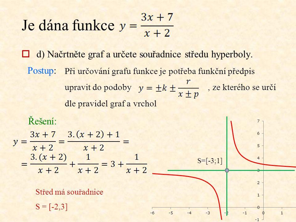 Je dána funkce  d) Načrtněte graf a určete souřadnice středu hyperboly. Postup: Při určování grafu funkce je potřeba funkční předpis upravit do podob