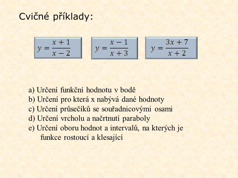 Cvičné příklady: a) Určení funkční hodnotu v bodě b) Určení pro která x nabývá dané hodnoty c) Určení průsečíků se souřadnicovými osami d) Určení vrch