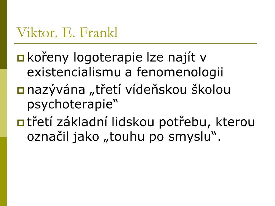 """Viktor. E. Frankl  kořeny logoterapie lze najít v existencialismu a fenomenologii  nazývána """"třetí vídeňskou školou psychoterapie""""  třetí základní"""
