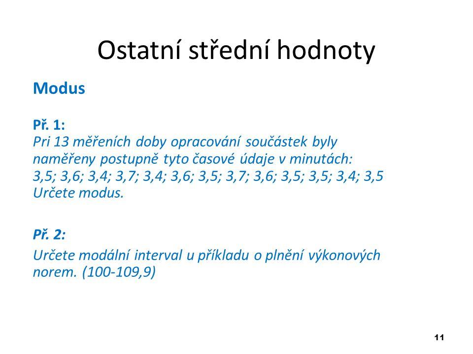 11 Ostatní střední hodnoty Modus Př. 1: Pri 13 měřeních doby opracování součástek byly naměřeny postupně tyto časové údaje v minutách: 3,5; 3,6; 3,4;