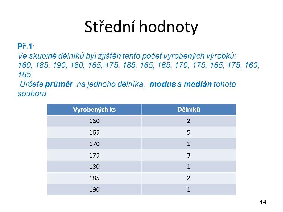 14 Střední hodnoty Př.1 : Ve skupině dělníků byl zjištěn tento počet vyrobených výrobků: 160, 185, 190, 180, 165, 175, 185, 165, 165, 170, 175, 165, 1