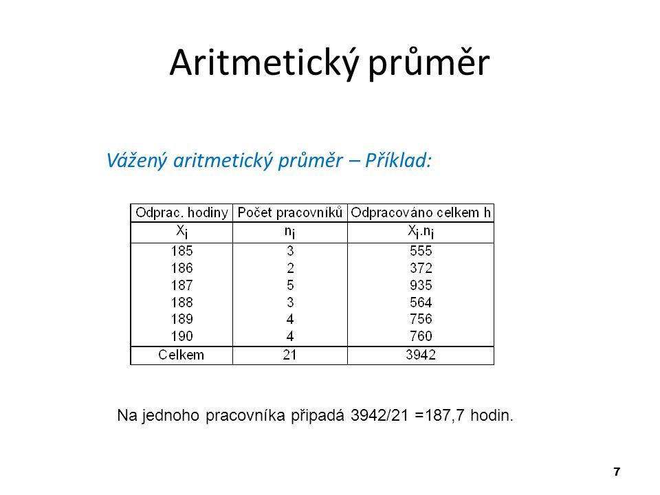 7 Aritmetický průměr Vážený aritmetický průměr – Příklad: Na jednoho pracovníka připadá 3942/21 =187,7 hodin.