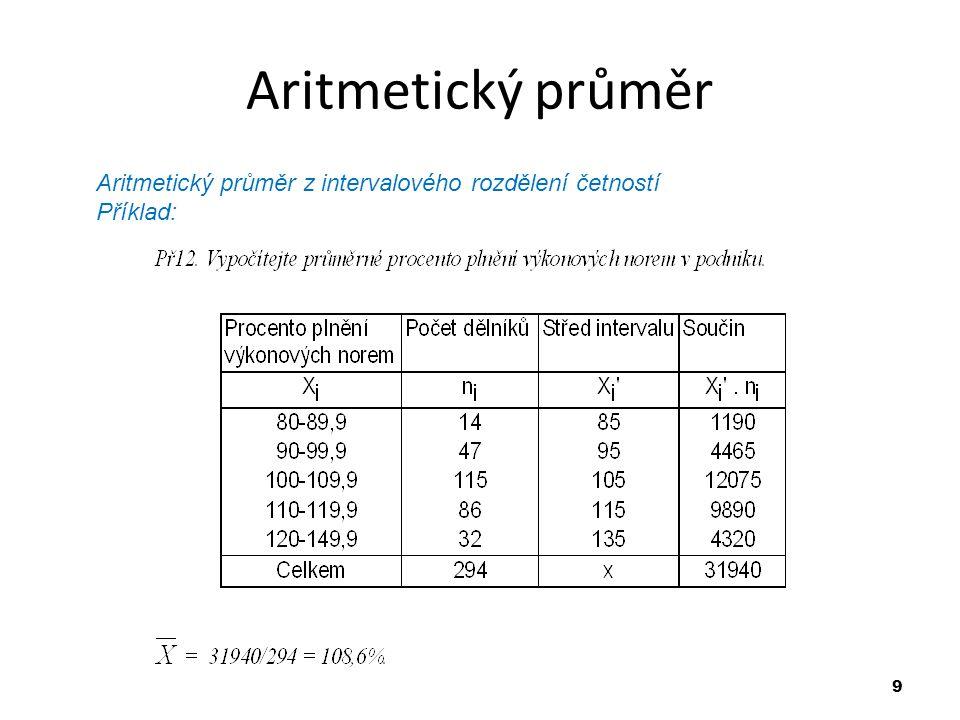 9 Aritmetický průměr Aritmetický průměr z intervalového rozdělení četností Příklad: