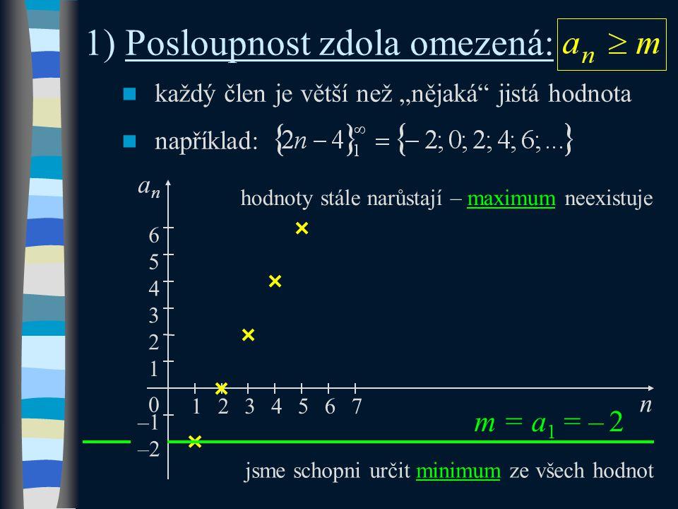 """každý člen je větší než """"nějaká jistá hodnota například: 1) Posloupnost zdola omezená: m = a 1 = – 2 n 3 –1 1 0 anan 1 2345 2 6 4 5 76 jsme schopni určit minimum ze všech hodnot hodnoty stále narůstají – maximum neexistuje –2"""
