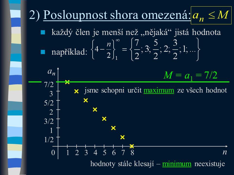 """každý člen je menší než """"nějaká jistá hodnota například: 2) Posloupnost shora omezená: M = a 1 = 7/2 n 5/2 1 3/2 0 anan 1 2345 2 1/2 3 76 jsme schopni určit maximum ze všech hodnot hodnoty stále klesají – minimum neexistuje 7/2 8"""