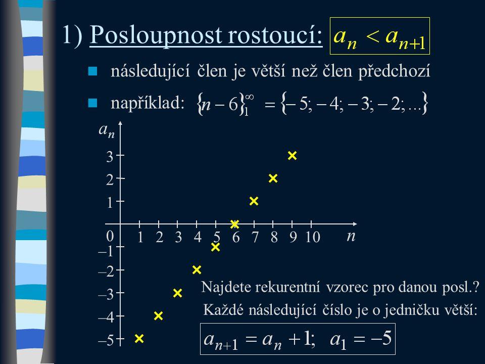 1) Posloupnost rostoucí: následující člen je větší než člen předchozí například: n 3 –1 1 0 anan 1 2345 2 –2 –3 –4 –5 789106 Každé následující číslo je o jedničku větší: Najdete rekurentní vzorec pro danou posl.?